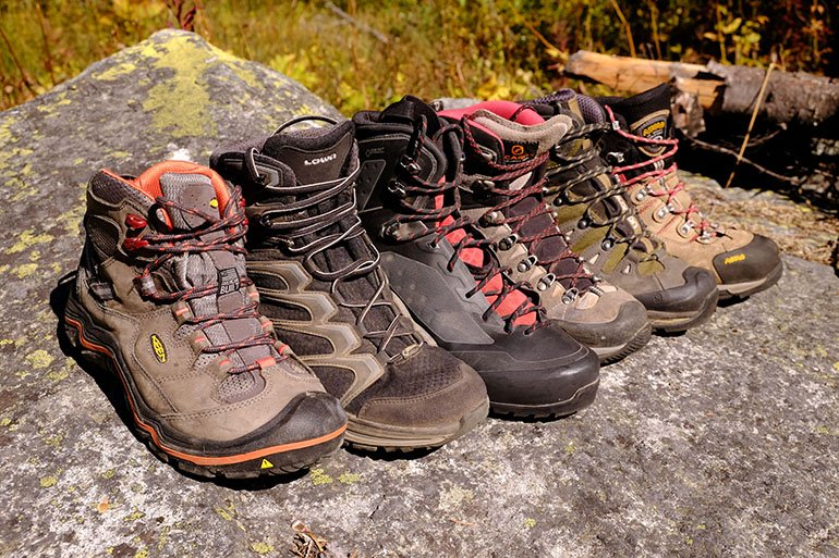 Hiking boots lineup